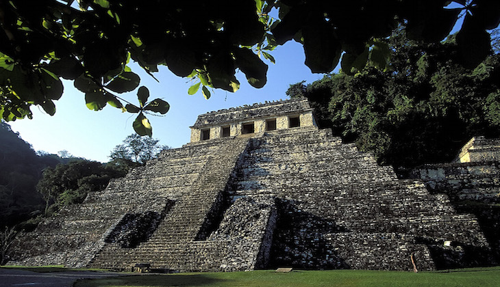 Temple of the Inscriptions at sunrise, Palenque, Chiapas, Mexico
