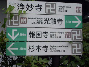 Manji (swastika) used on Japanese signpost to signify Buddhist temples. Public domain/Wikipedia Commons