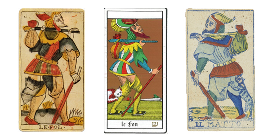 Examples of The Fool tarot card. All Public Domain via Wikimedia Commons.