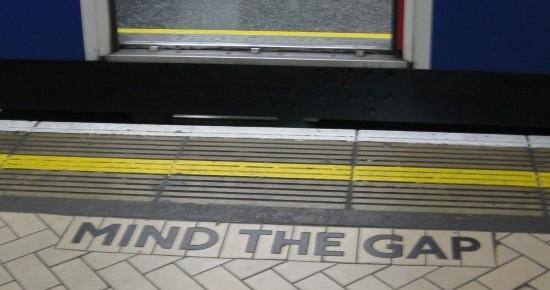 Mind the Gap sign on London Underground Victoria Station