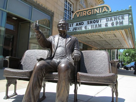 """Roger Ebert Statue, Virginia Theater (Champaign)"" by Bordwall - Own work. Licensed under CC BY-SA 4.0 via Wikimedia Commons - https://commons.wikimedia.org/wiki/File:Roger_Ebert_Statue,_Virginia_Theater_(Champaign).JPG#/media/File:Roger_Ebert_Statue,_Virginia_Theater_(Champaign).JPG"