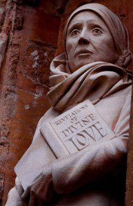 (Statue of Julian of Norwich on the façade of Norwich Cathedral. Source: Wikimedia, Creative Commons License).