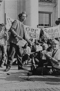 (Mario Savio, protesting at UC Berkeley in 1964, Source: Wikipedia, Creative Commons License).