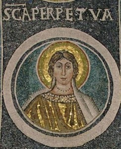 (A Mosaic of St. Perpetua., from Croatia. Source: Wikipedia, Creative Commons License).