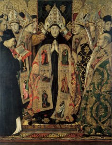 """(""""The Consecration of Saint Augustine"""" by Jaume Huguet, 1475. Source: Wikimedia. Creative Commons License)."""