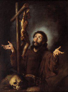 """""""St. Francis of Assisi Adoring the Crucifix"""" by Bernardo Strozzi, c. 1615. Source: Wikimedia, Creative Commons License)."""