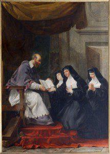 """""""Saint François de Sales donnant à sainte Jeanne de Chantal la règle de l'ordre de la Visitation,"""" Noël Hallé, 18th century. Source: Wikimedia, Creative Commons License)."""