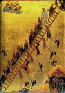 (An Icon of the Ladder of Divine Ascent, 12th century, from St. Catherine's on Mt. Sinai. Source: Wikimedia, Creative Commons License).