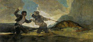 """(""""Duelo a garrotazos,"""" or """"Fight with Cudgels"""" by Francisco de Goya y Lucientes, 1819-1823. Source: Wikimedia, Creative Commons License)."""