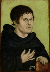 "(""Posthumous Portrait of Martin Luther as an Augustinian Monk,"" the Workshop of Lucas Cranach the Elder, after 1546. Source: Wikimedia, Creative Commons License)."