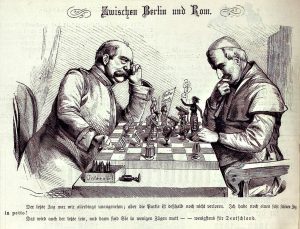 """(""""Zwischen Berlin und Rom."""" Bismarck confronts Pope Pius IX in a caricature from the May 16, 1875 edition of """"Kladderadatsch."""" Source: Wikimedia, Creative Commons License)."""