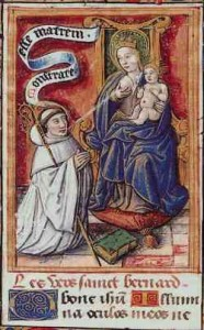 "Lactatio (milk wonder) of Bernhard of Clairvaux ""Bernard receiving milk from the breast of the Virgin Mary. The scene is a legend which allegedly took place at Speyer Cathedral in 1146. From MS Douce 264, f.38v. in the Bodleian Library, Oxford. Source: Wikimedia, Creative Commons License."