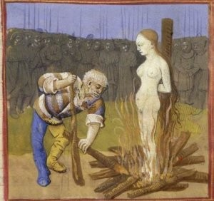 A 15h-century depiction of being burned at the stake. Source: Wikimedia, Creative Commons License.
