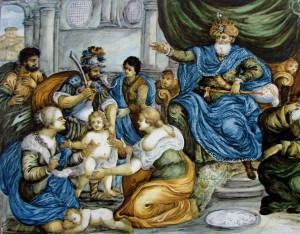 (Painting on ceramic, representing the judgment of Solomon, 18th century, Castelli, Italy. Now in the Lille Museum of Fine Arts. Source: Wikimedia, Creative Commons License).