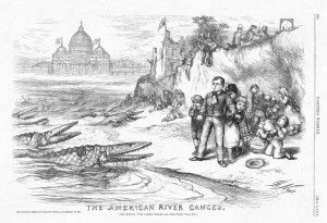 """The American River Ganges,"" an 1875 anti-Catholic cartoon by Thomas Nash from Harper's Weekly magazine. Source: Wikimedia, Creative Commons License."