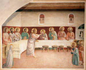 Institution of the Eucharist (1441-1442) by Fra Angelico. Source: Wikimedia, Public Domain.