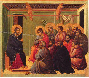 Christ Taking Leave of the Apostles (between 1308 and 1311) by Duccio di Buoninsegna. Public Domain.