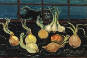 Still Life with Cat and Onions (c. 1928) by Boris Grigoriev