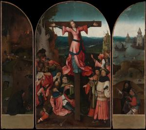 """The Crucifixion of St. Julia (c.1497) by Hieronymus Bosch. Public Domain. When commanded to sacrifice to pagan gods, she replied: """"My liberty is the service of Christ."""""""