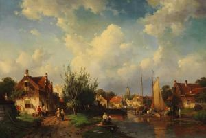 Hustle and Bustle on the River Bank of a Dutch Town (1860) by Charles Leickert. Public Domain.