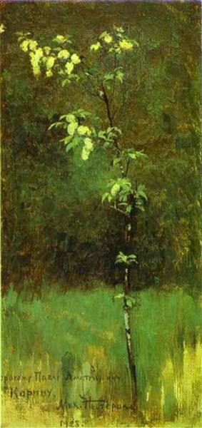 """I didn't know what kind of visual would make sense for this, so... Look! It's """"Tree in Blossom"""" by Mikhail Nesterov!"""