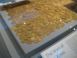 Pile of gold coins from Fishpool Hoard on display at the British Museum. Photograph by BabelStone via Wikimedia Commons