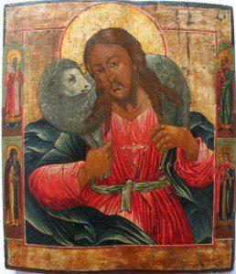 Good shepherd. Russian icon, 19 c. Niederland. By anonimous [Public domain], via Wikimedia Commons