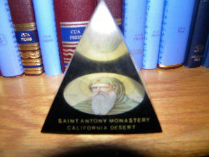 Picture by Henry Karlson of his own glass pyramid of St. Antony the Great from the Coptic Monastery in California