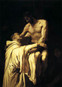 Christ Embracing St. Bernard. By Francisco Ribalta [Public domain], via Wikimedia Commons