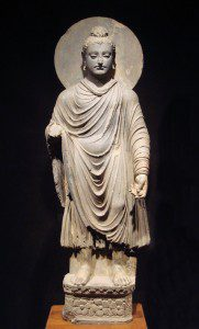 Gandhara Buddha. 1st-2nd century CE. This work has been released into the public domain by its author, [[:Wikipedia:User:World Imaging (talk)|World Imaging (talk)]] at English Wikipedia. This applies worldwide.