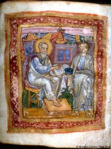 e Apostle John and Marcion of Sinope by Unknown (Life time: 1100?) [Public domain], via Wikimedia Commons
