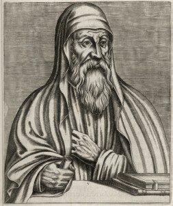 """Origen Illustration from """"Les Vrais Portraits Et Vies Des Hommes Illustres"""" by André Thévet via Wikimediacommons"""