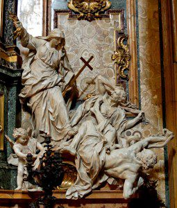Religion Overthrowing Heresy and Hatred, by Pierre Legros the Younger (1695–1699). Marble, H. 3 m (9 ft. 10 in.). Church of the Gesù, Rome, Italy by Jastrow (Own work) [Public domain], via Wikimedia Commons