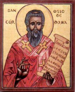 Ossius of Cordova. Uploaded by MaiDireLollo (http://www.freewebs.com/orientalhispana/clero.htm) [Public domain], via Wikimedia Commons