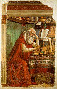 Saint Jerome in his study. By Domenico Ghirlandaio [Public domain], via Wikimedia Commons