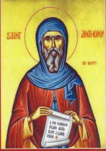 Saint Antony by Anonymous (from a Greek Orthodox icon) [Public domain], via Wikimedia Commons