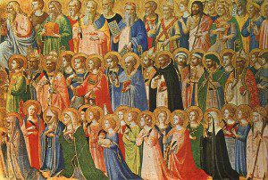 Fra Angelico, The Forerunners of Christ with Saints and Martyrs (about 1423-24) Tempera on wood, 31,9 x 63,5 cm cm National Gallery, London. By Sampo Torgo at en.wikipedia [Public domain], from Wikimedia Commons