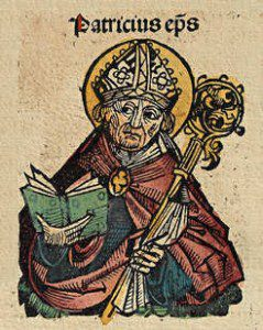 St. Patrick Woodcut. By Michel Wolgemut, Wilhelm Pleydenwurff (Text: Hartmann Schedel) (scan from original book) [Public domain], via Wikimedia Commons