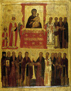 Icon of the Triumph of Orthodoxy. Anonymous (National Icon Collection (18), British Museum) [Public domain], via Wikimedia Commons
