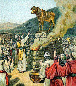 Worshiping the Golden Calf. By the Providence Lithograph Company [Public domain], via Wikimedia Commons