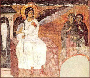 Myrrh Bearing Women. Fresco at Mileševa monastery. By Snežana Trifunović (Own work) [GFDL (http://www.gnu.org/copyleft/fdl.html) or CC-BY-SA-3.0 (http://creativecommons.org/licenses/by-sa/3.0/)], via Wikimedia Commons