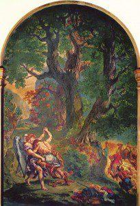 Jacob wrestling by Eugène Delacroix [Public domain or Public domain], via Wikimedia Commons