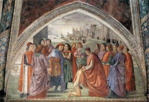 Renunciation of Worldly Goods (Cappella Sassetti, Santa Trinità, Florence) by Domenico Ghirlandaio [Public domain], via Wikimedia Commons