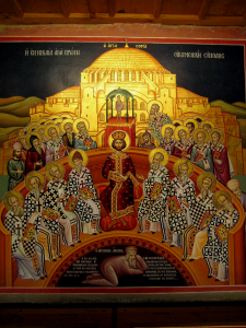 Icon from the Mégalo Metéoron Monastery in Greece, representing the First Ecumenical Council of Nikea 325 A.D., with the condemned Arius in the bottom of the icon. By Jjensen (Own work) [GFDL (http://www.gnu.org/copyleft/fdl.html) or CC BY-SA 3.0 (http://creativecommons.org/licenses/by-sa/3.0)], via Wikimedia Commons
