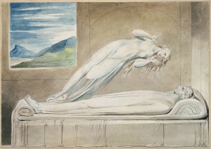 Soul leaving body by William Blake [Public domain], via Wikimedia Commons