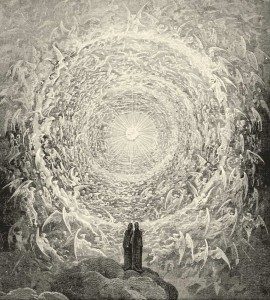 Rosa Celeste: Dante and Beatrice gaze upon the highest Heaven, The Empyrean by Gustave Doré [Public domain], via Wikimedia Commons