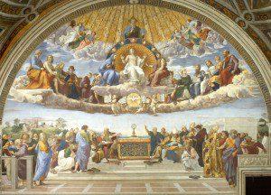 Disputation of Holy Sacrament by Raphael [Public domain], via Wikimedia Commons