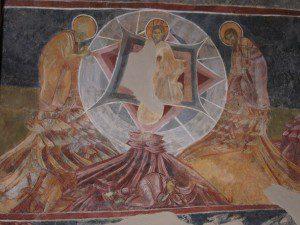 Trasfiguration-fresco, in St. George Church in Kurbinovo, Macedonia. [Public domain], via Wikimedia Commons