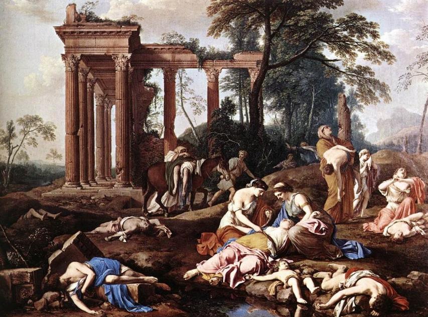 """Image source: Laurent de La Hire, """"The Children of Bethel Mourned by Their Mothers,"""" c. 1653, public domain."""