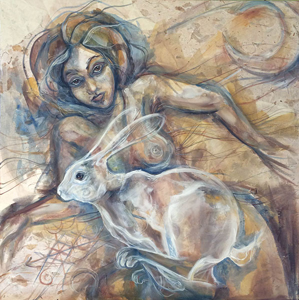 Woman To Hare, painting by the author